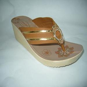 Sand Brown Rexiene Heeled Flip Flops For Women