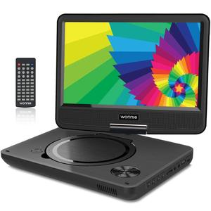 """WONNIE 11.5"""" Portable DVD Player with 9.5 inches 270° Swivel Screen, Best Gift for Kids, Support USB/SD Slot, Direct Play in Formats AVI/MP3/JPEG/RMVB (11.5, Black)"""