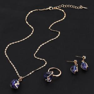 Gold Plated Austrian Crystal Earrings With Pendant Necklace Rings Jewelry Set