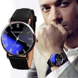 Luxury Fashion Faux Leather Mens Quartz Analog Watch