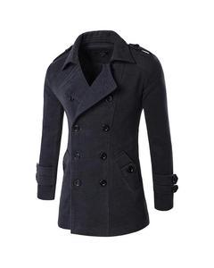 Black Double Button Coat For Men