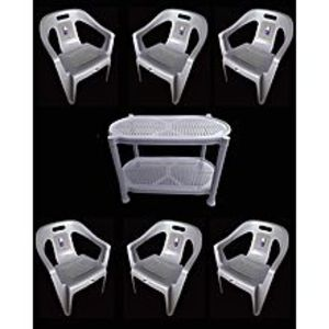 CHIEF(Boss) Set Of 6 Plastic Chairs And Plastic Table - Brown