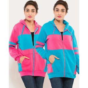 Pack Of 2 - Multicolor Fleece Hoodie For Women