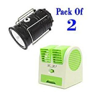 China TownPack of 2- Mini Portable Fan + Solar Charging Lantern Torch & Power Bank