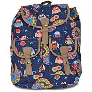 Bags Collection Navy Blue Canvas Backpack For Women