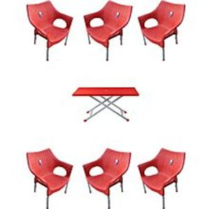 CHIEF(Boss) Set Of 6 Rattan Plastic Chairs And Plastic Table - Red