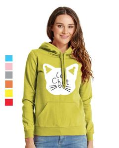 Rex Bazar - Light Green Le Chat Printed Hoodie For Women