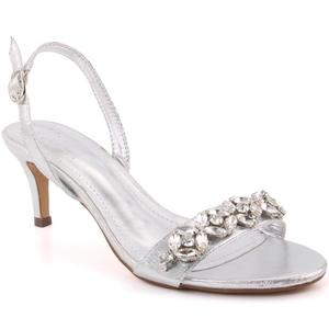 """Women """"Faye"""" Stone Accented Shimmer Buckle Closure Stiletto Heel Sling Back Sandals  L31399"""
