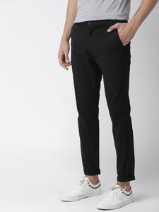 Black Slim Fit Solid Jeans for men
