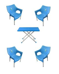 (Boss) Set Of 4 Rattan Plastic Chairs And Plastic Table - Blue