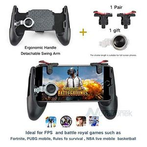 5 In1 Joystick Grip Extended Handle Game Controller Ultra-Portable Five-Angle Gamepad For All Smartphone PUBG / Fortnight (Black)
