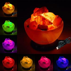 Color Changing Fire Bowl Shape Salt Lamp with USB cord