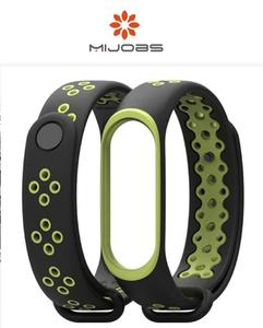 Sports Strap For Mi Band 3/M3 Band (Black & Green Tone) + FREE PROTECTOR
