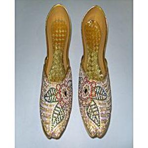 Modern FootwearGolden Fashionable Khussa For Women