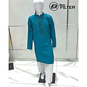 Filter JuniorBoys Blue Embroidered Kurta with White Shalwar