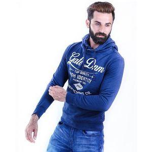 Navy Blue Fleece Sunburg Famelic Hoodie For Men