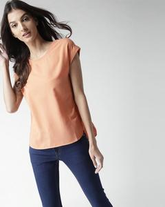 Peach Crew Neck Half Sleeves Tunic For Women. RID-268-PP