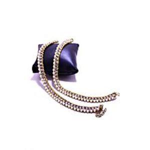 sjewelleryGolden & White Metal Anklets For Women