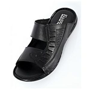 Emotions Black Stitched Design Casual Slipper EMO-35935