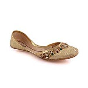 Unze LondonSilver Women ?Topaz?  Embellished Khussa Slippers L29307