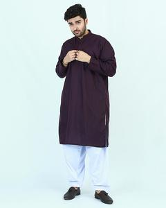 Cut Price Purple Plain Karhai Stitched Kurta for Men