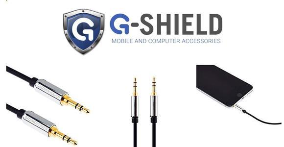 G-Shiel d Aux 3.5mm Jack Stereo Audio Auxiliary Cable, 1m, Black