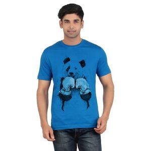 Ace Blue Cotton Boxer Panda Printed T-Shirt for Men