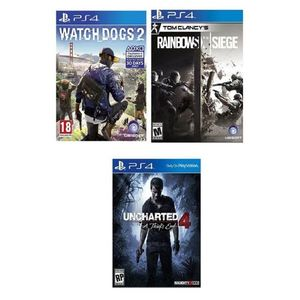 Pack of 3 - Rainbow Six: Siege, Watch Dogs 2 & Uncharted 4: A Thiefs End - PlayStation 4 Games