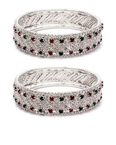 Fashion Café Silver Steel Bangles With Diamond Studs Detail