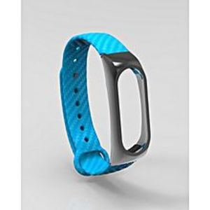Daraz Accessories Mi Band 2 Replacement Carbon Fiber Design Belt with Metal Dial - Blue
