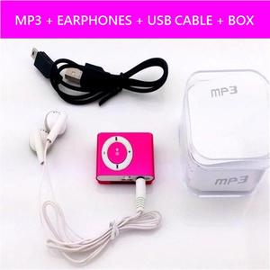 Pack of 3 USB Mini MP3 Player Support Micro SD TF Card with Headphone, mp3 with free earphones, free usb cable Expandable Up to 32GB (Pink)