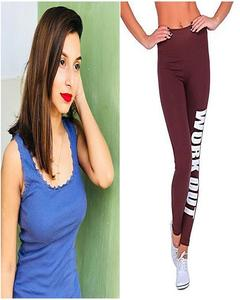 Blue Tank Top & Maroon Work Out Printed Gym Tight For Her