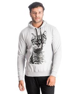 Heather Grey Geek Cat Printed Cotton & Wool Hoodie for Men