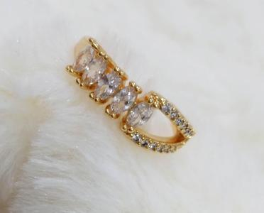 18K Gold Plated Ring with White Stones