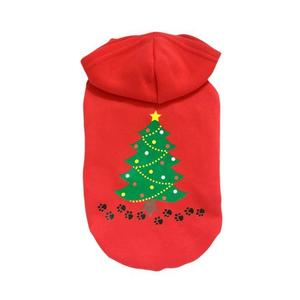 Red Christmas Tree Printed Pet Dog Clothes Costumes Clothing Pet Apparel L
