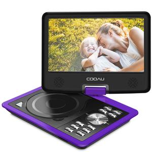 """COOAU 12.5"""" Portable DVD Player with Eye-Protected HD Swivel Screen, 5-Hours Rechargeable Battery, Support Region Free, USB/SD Card, Sync Screen Playing"""