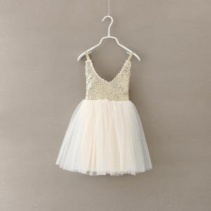 Gorgeous Sequins Tutu Gown Children Frock Designs Wedding Flower Lace Back Tulle Girls Dresses