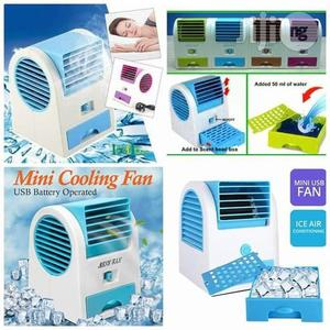 Mini USB AC Fragrance Air Conditioner Cooling Fan Cooling Portable Desktop Dual Bladeless Air Cooler- Multicolour