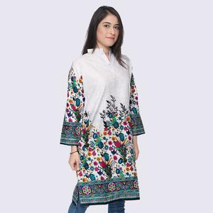 Dija's Women Winter Collection Stitched White 1 PCS Digital Printed Kurti- Kurti DM - 1