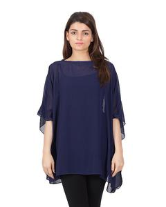 Navy Blue Polyester Weight Less Japan Chiffon Poncho For Women - PON 01 NV