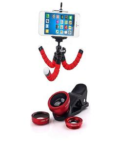 Flexible Octopus Mobile Tripod Stand & Mobile Camera Lens Red & Black