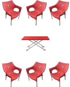 (Boss) Set Of 6 Rattan Plastic Chairs And Plastic Table - Red