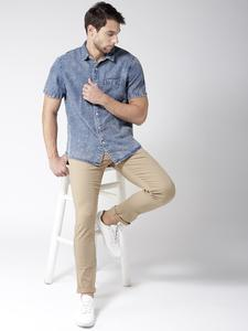 Light Camel Slim Fit Solid Jeans for men