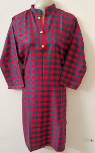 Fresh Winter Acrylic Wool Check Print Girl's Stitched Kurta top Red and Ferozi