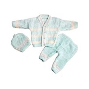 Peekaboo3 Pcs Blue VNeck Sweater Set for Newborn