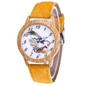 Luxury Women Men Feather  Watch Analog Quartz Bracelet Wrist Watches BK