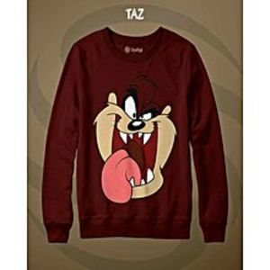 TJ FASHION Maroon TAZ Printed Sweatshirt Shirt For Men