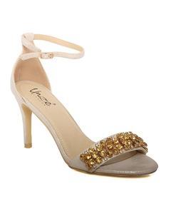 "Gold Women ""Wanda"" Ankle Strap Stiletto Heel Sandals L29905"