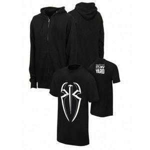 Pack of 2 Black Fleece Hoodie & WWE Printed T-Shirt For Men