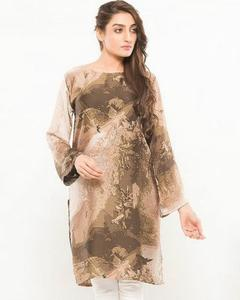Flying Birds - Printed Silk Stitched Kurta For Women
